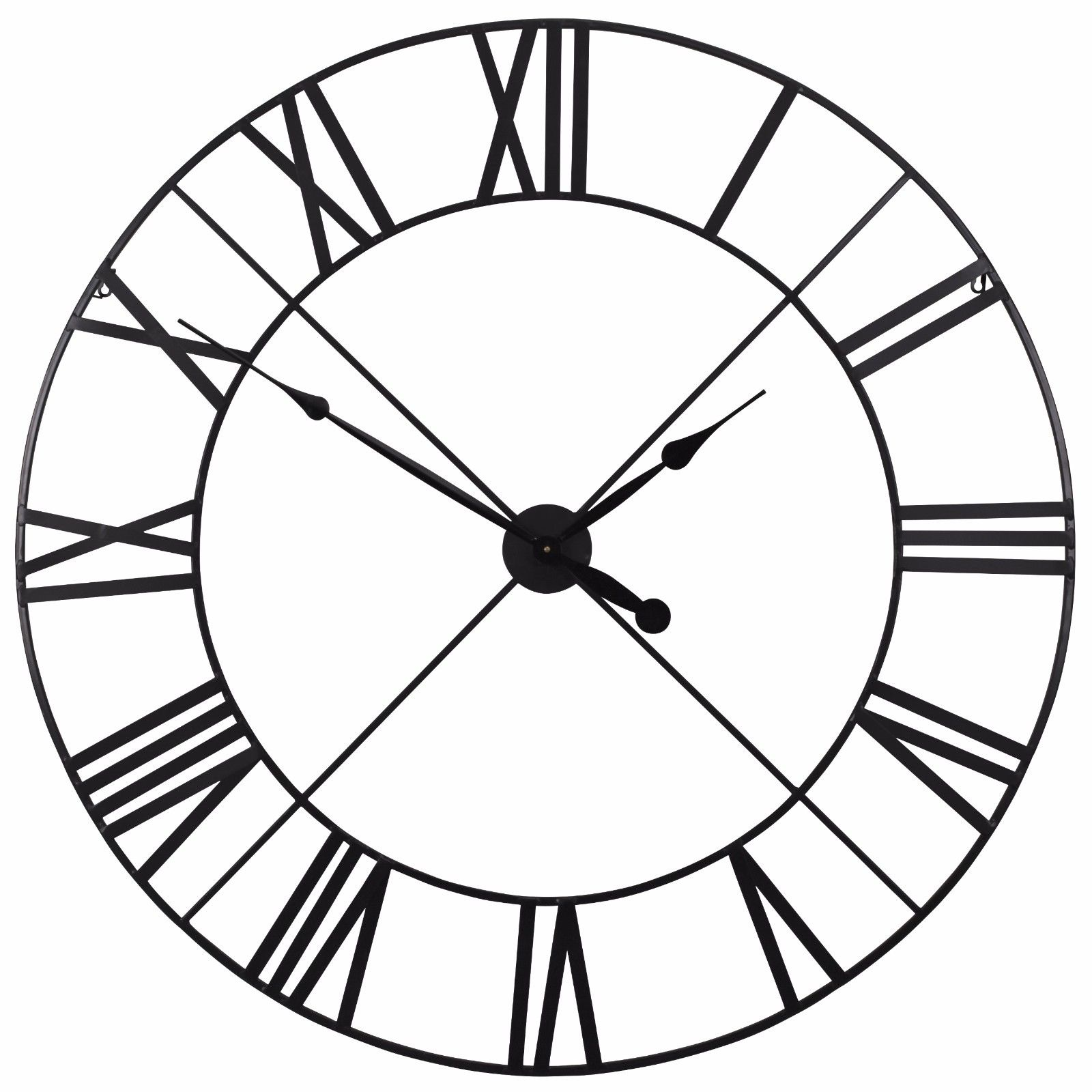 Extra Large 110cm Black Metal Wall Clock