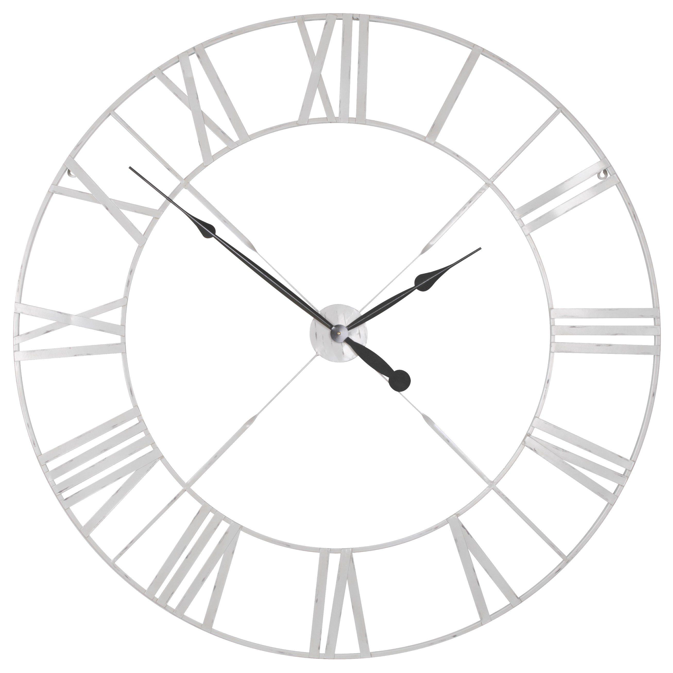 Distressed Off White Metal Twist Frame Wall Clock
