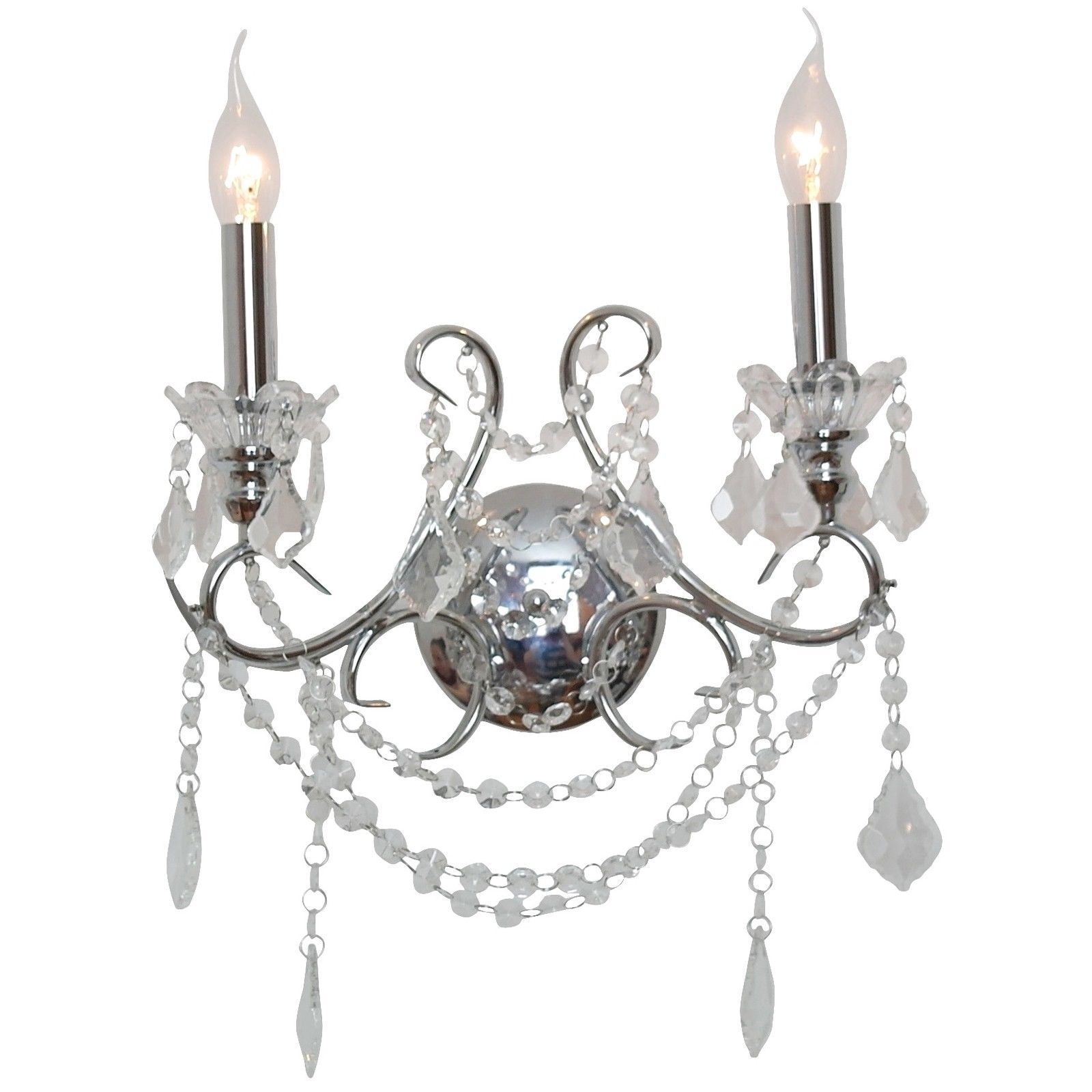 Chrome 2 Branch Cut Glass Chandelier Wall Light