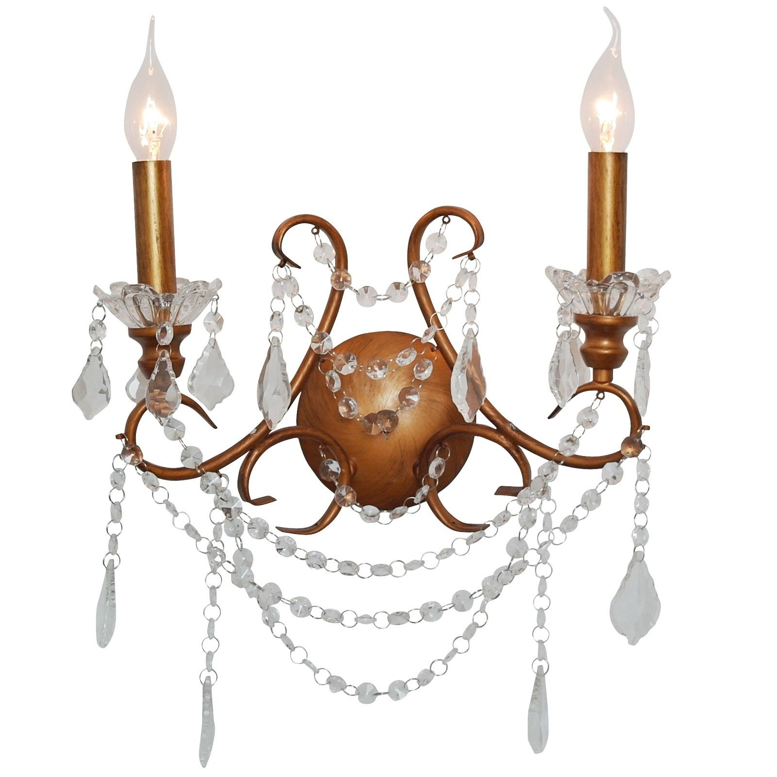 Antiqued Gold 2 Branch Cut Glass Chandelier Wall Light
