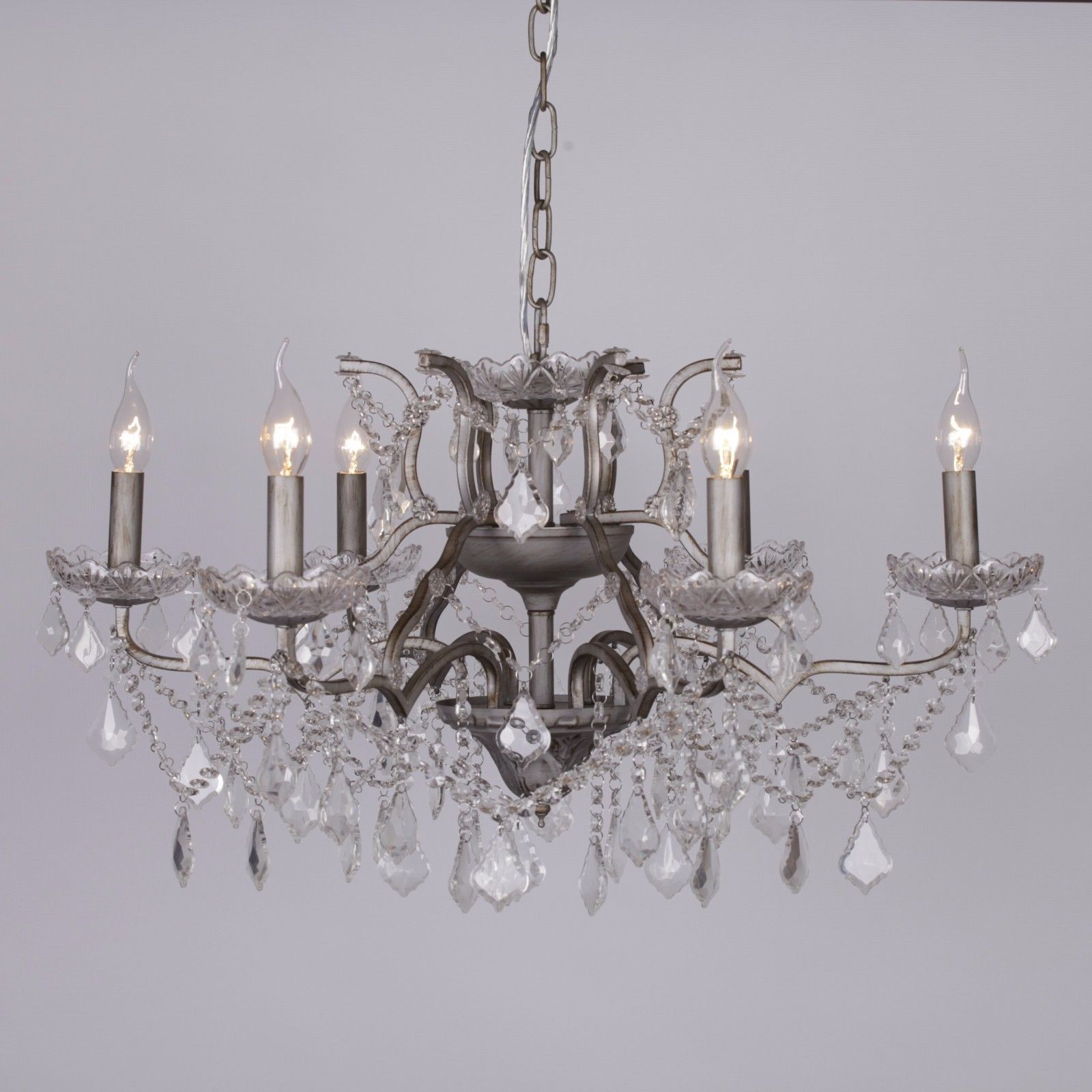Antique Silver 6 Branch Shallow Cut Glass Chandelier