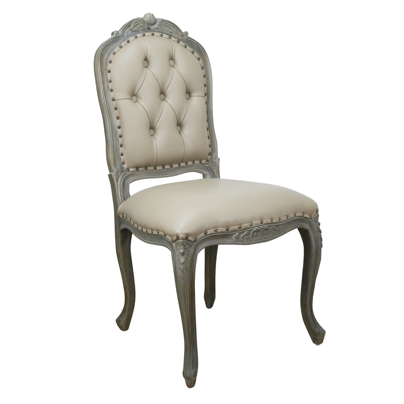 Studded Dining Chair with Faux Leather