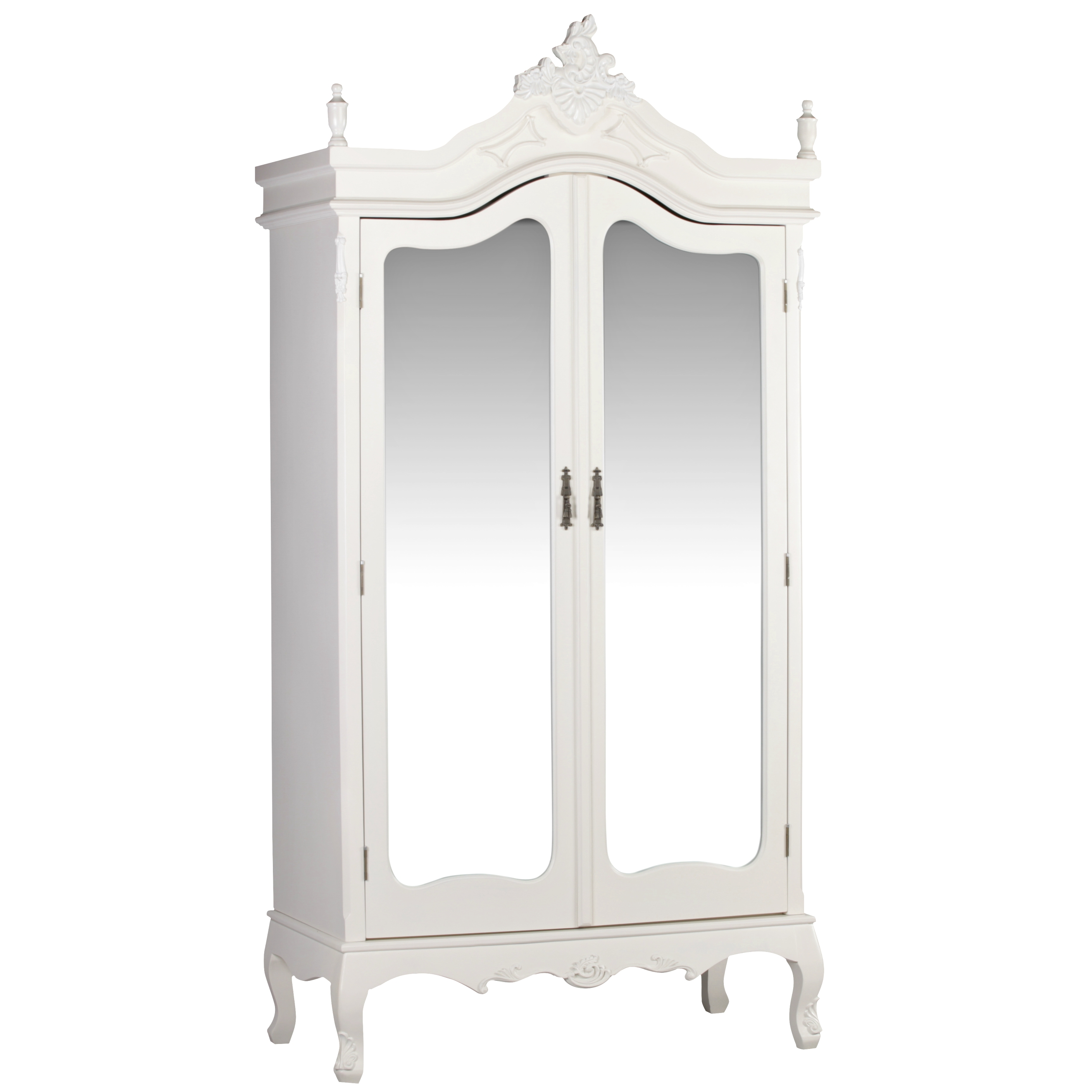 French Antique Cream Double Full Mirrored Armoire