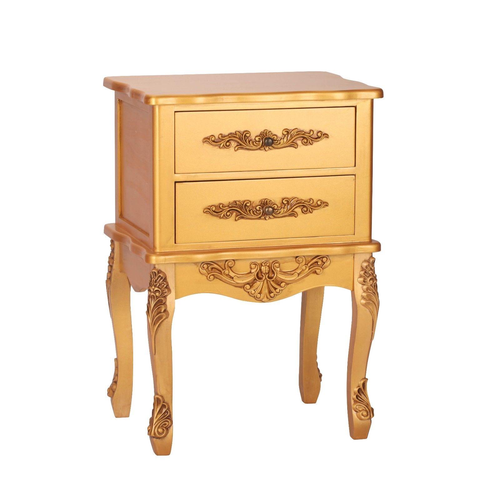 French Antique Gold 2 Drawer Bedside
