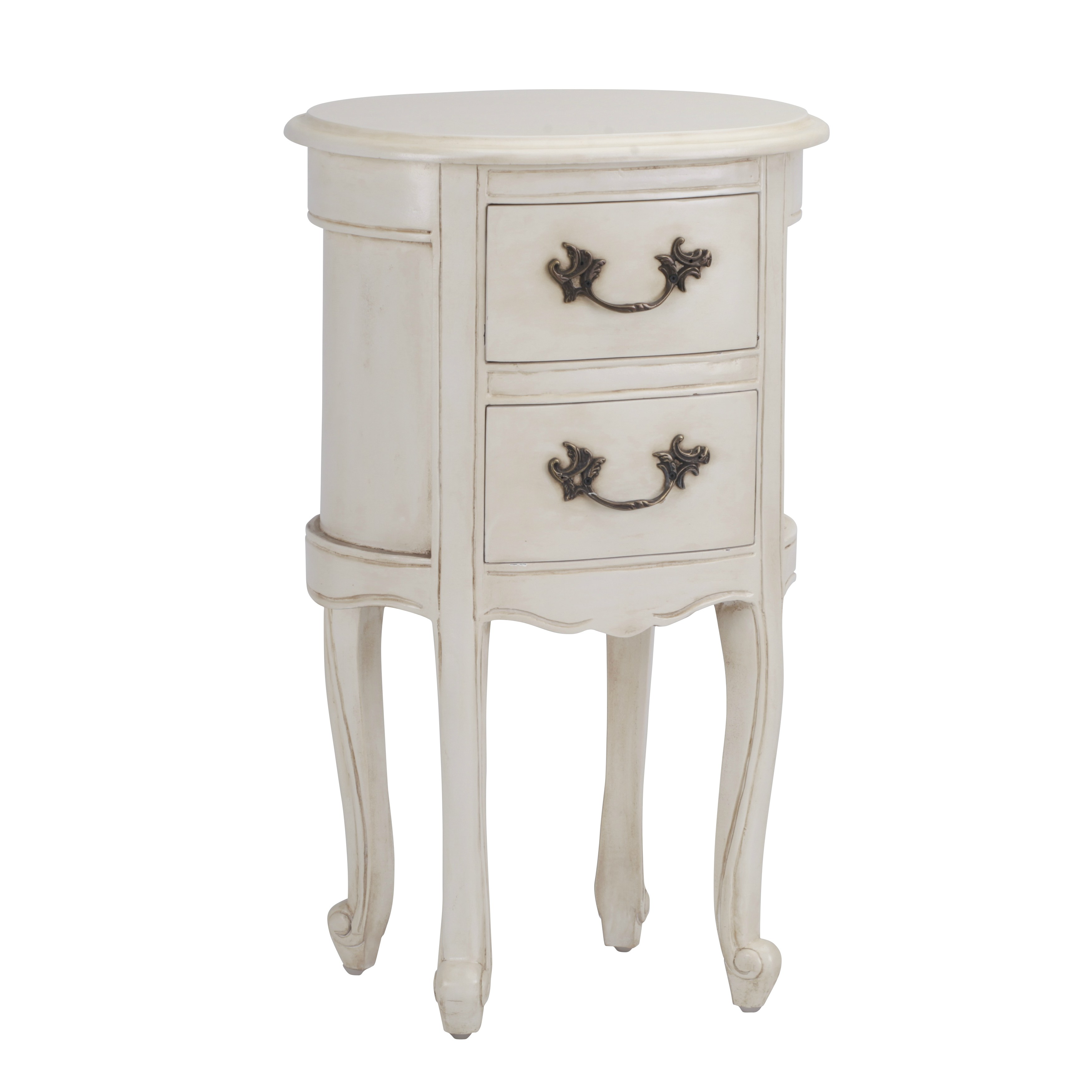 Aged Ivory Oval Bedside