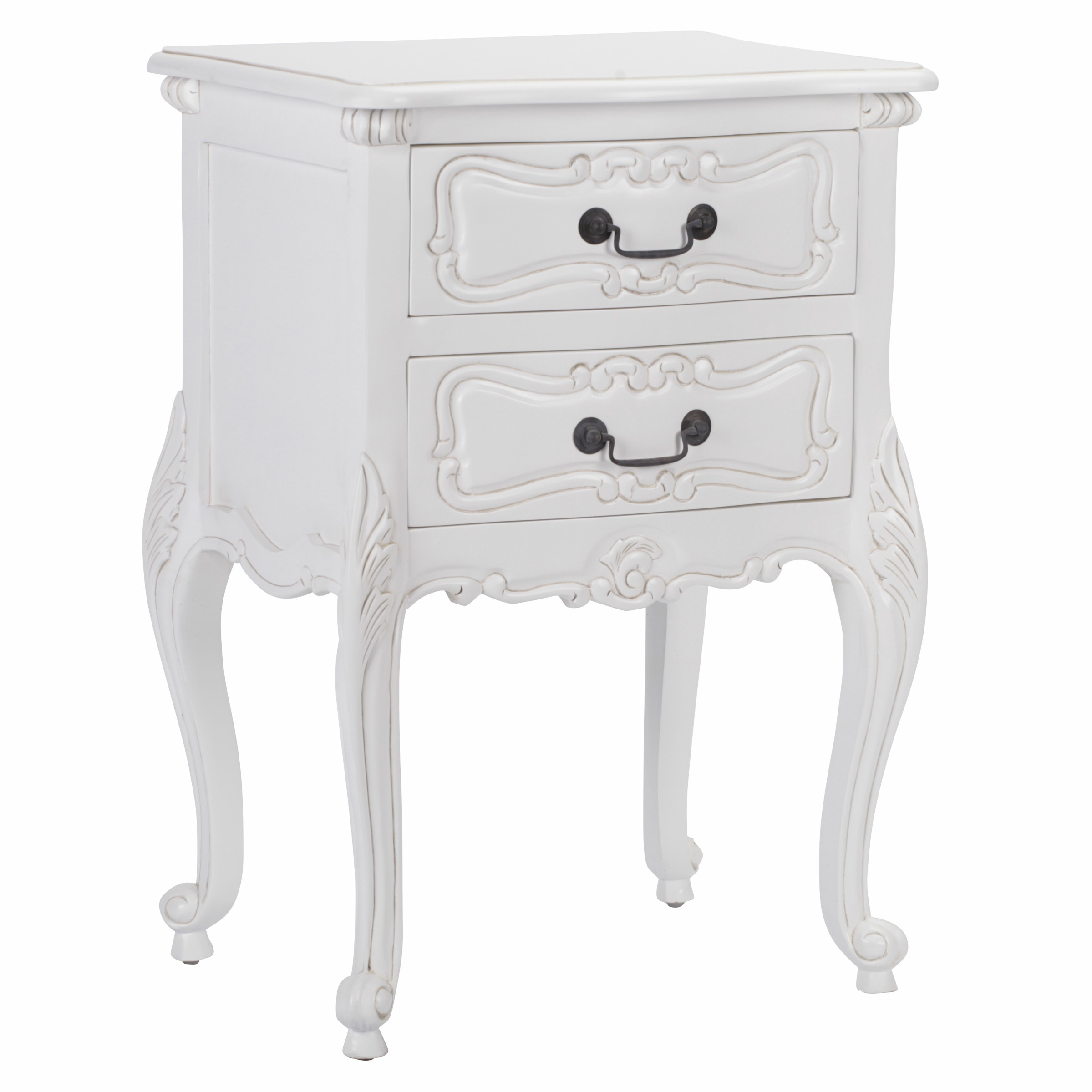 Rococo White Carved Bedside