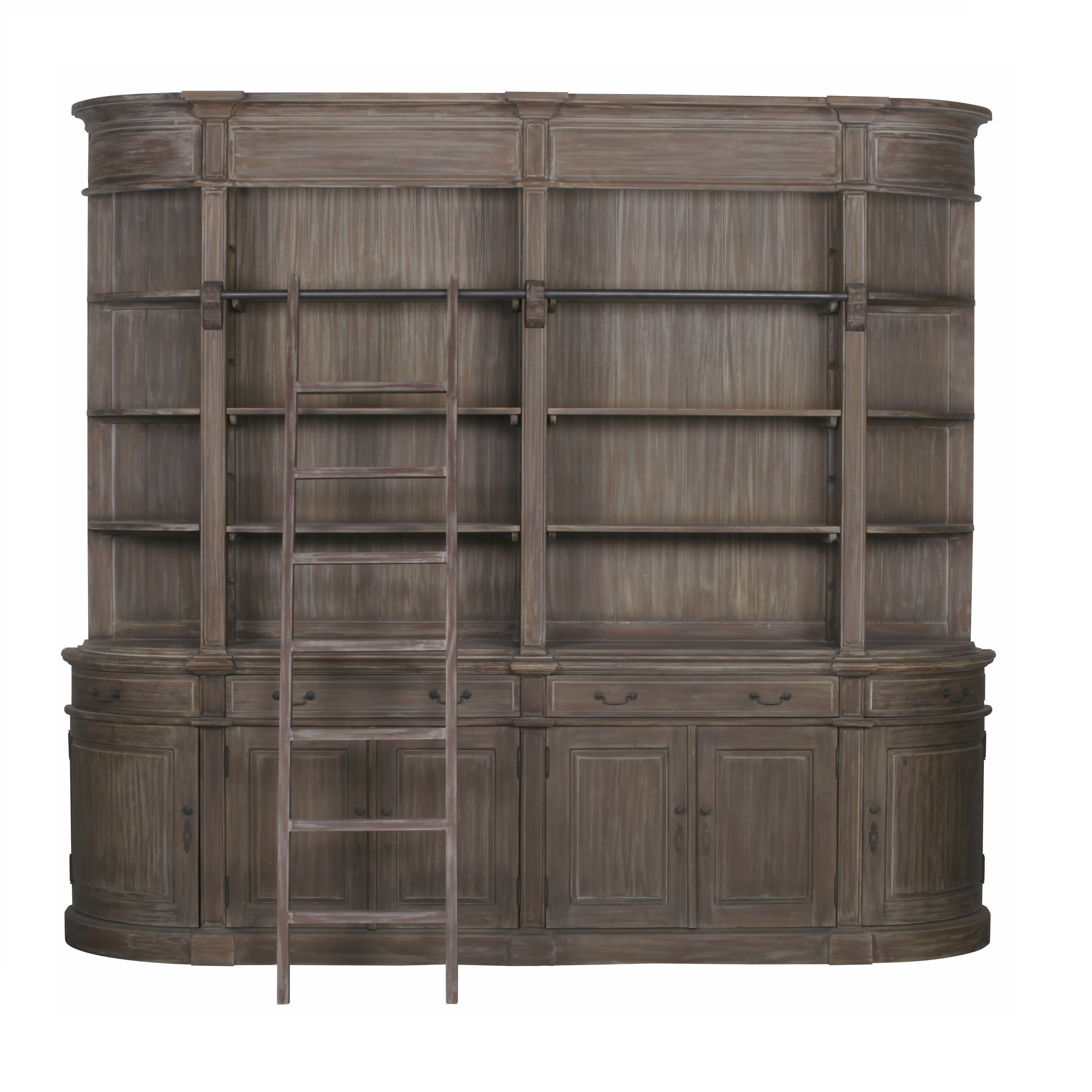 Extra Large Wooden Double Bookcase with Ladder