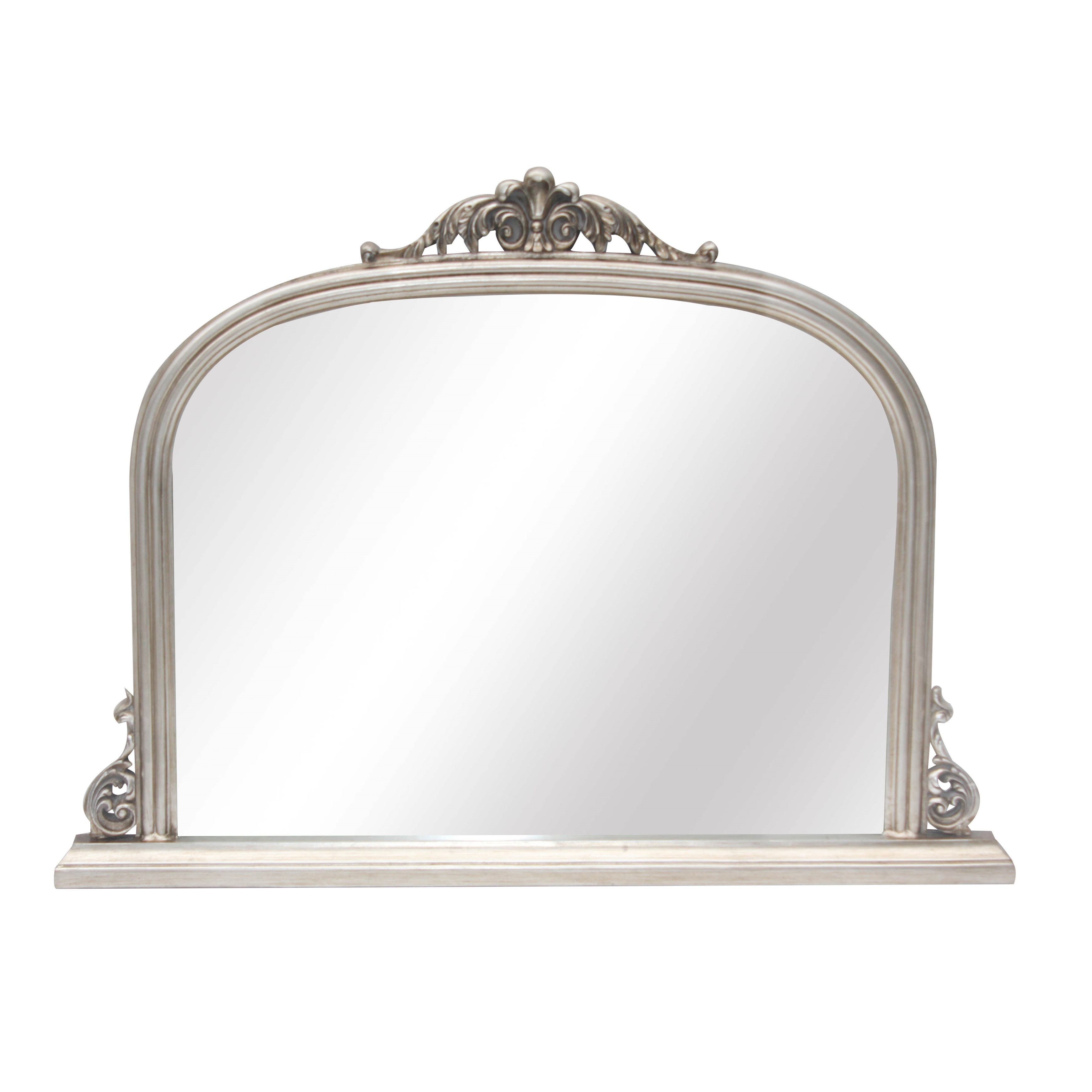French Silver Overmantle Mirror