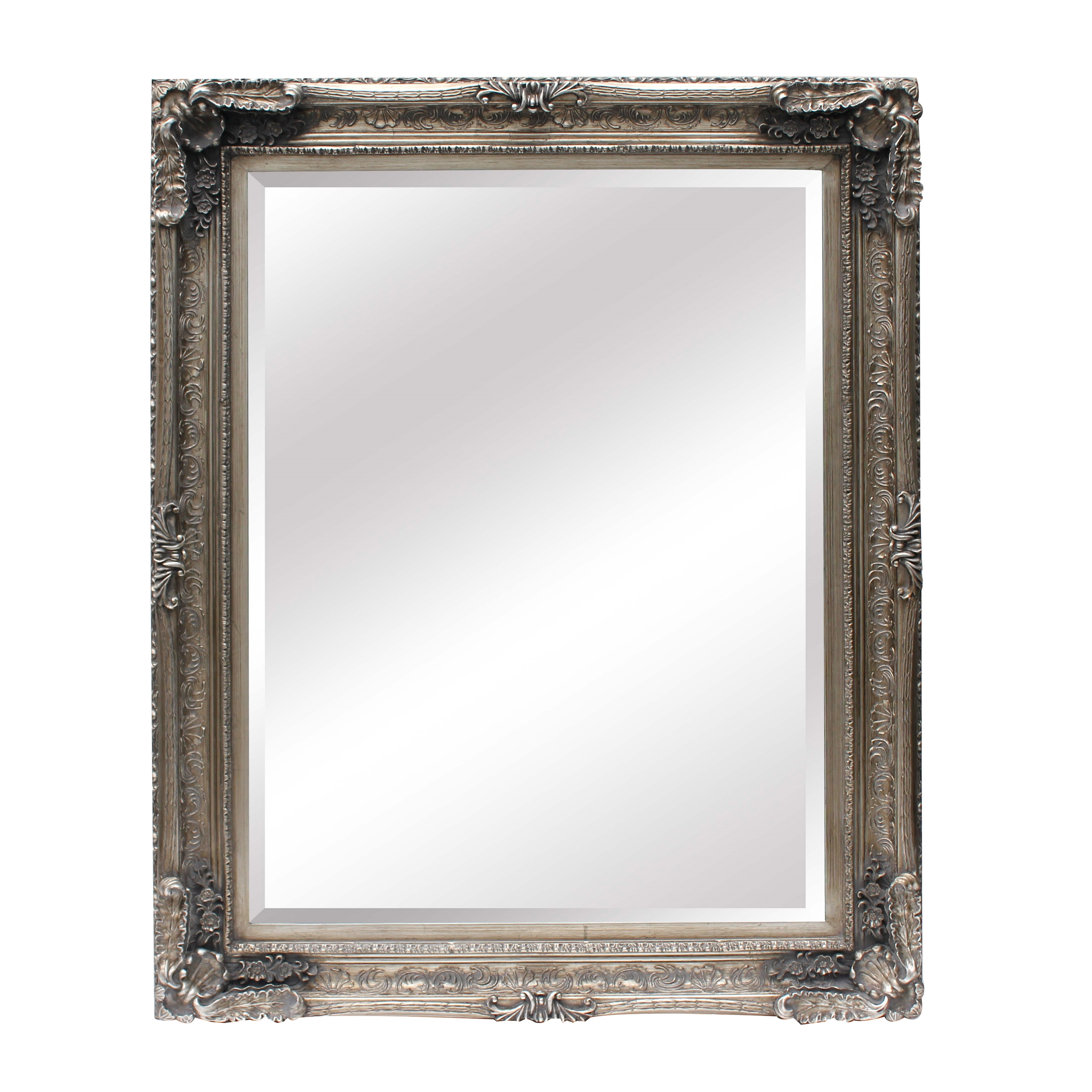 Large Ornate Silver Wall Mirror