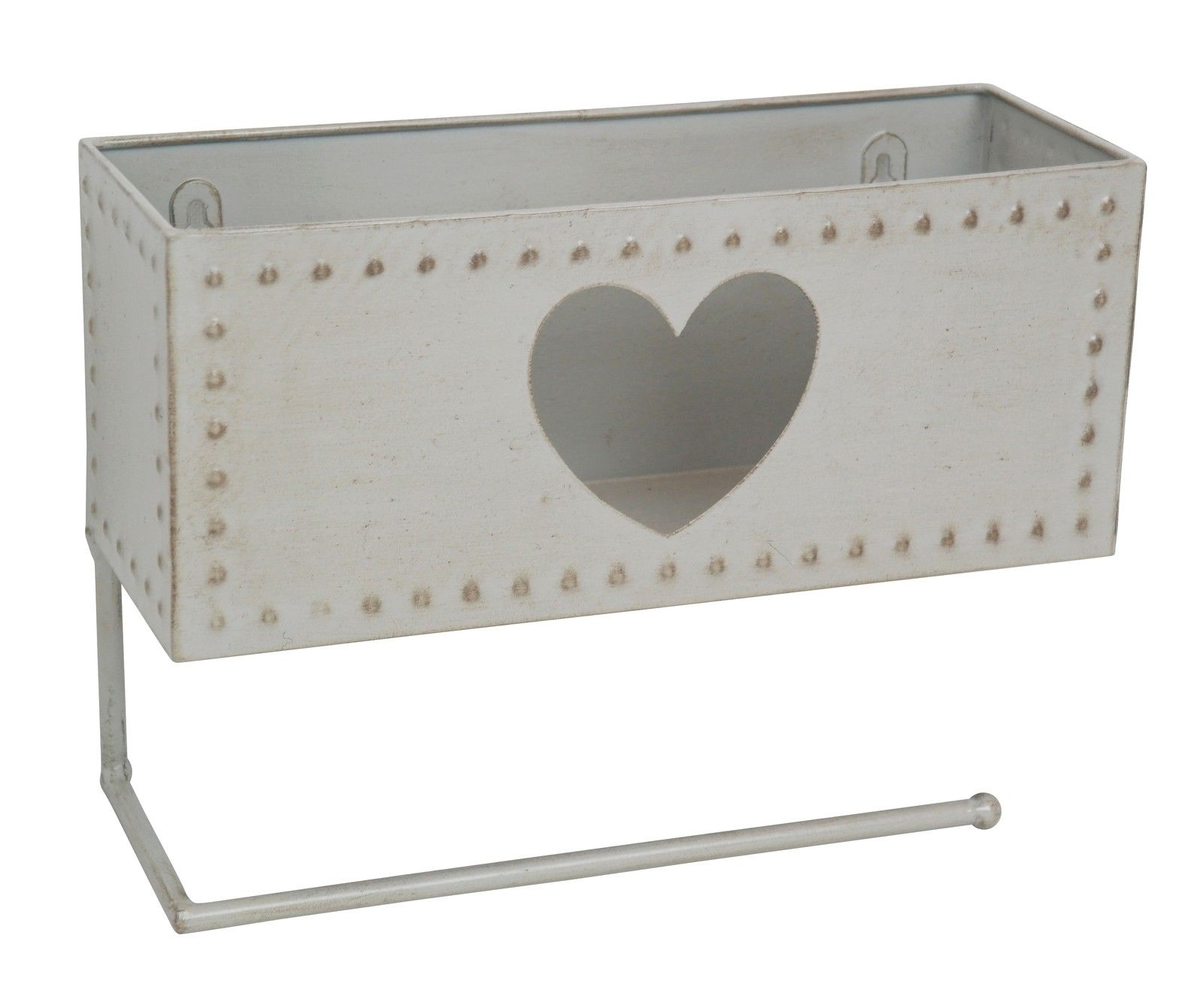 Grey Heart Toilet Roll Holder with Basket