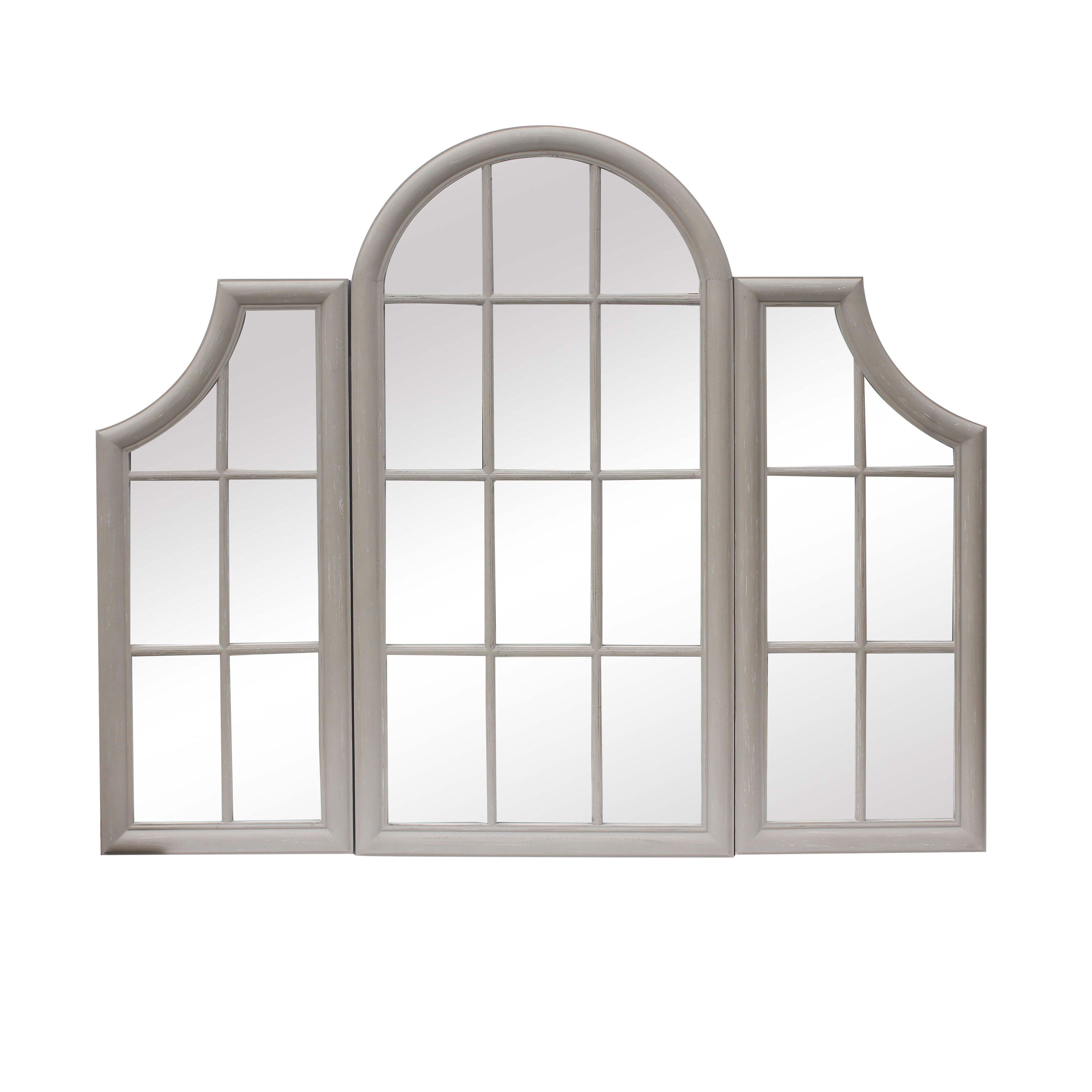 Triple Window Frame Mirror Stone Grey