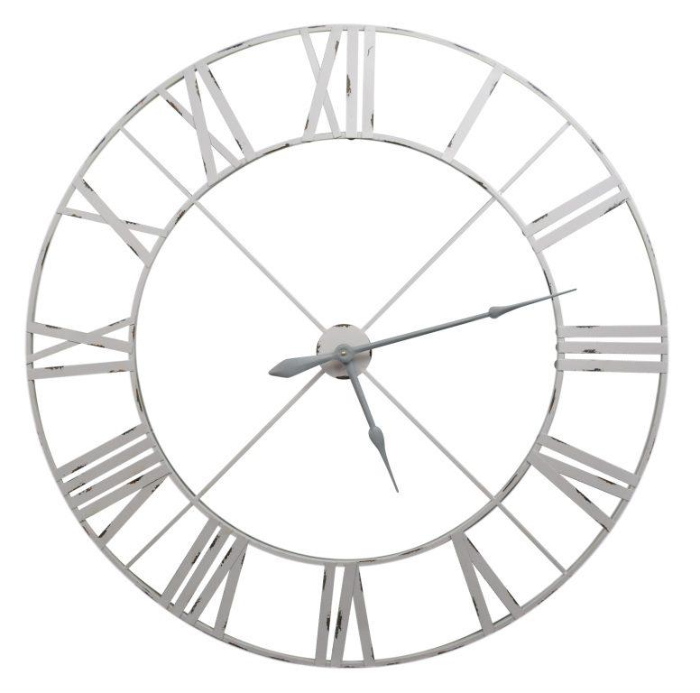 Pale Grey / Off White 110cm Vintage Metal Wall Clock