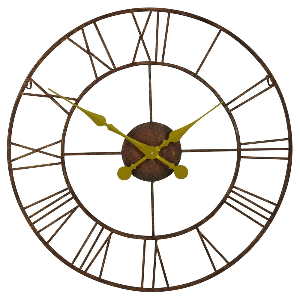 Rustic Metal 76cm Wall Clock with Gold Hands