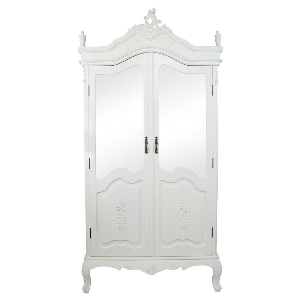 French Antique Cream Double Half Mirrored Door Armoire
