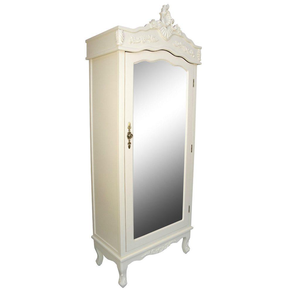 French Cream Single Door Armoire with Mirrored Door
