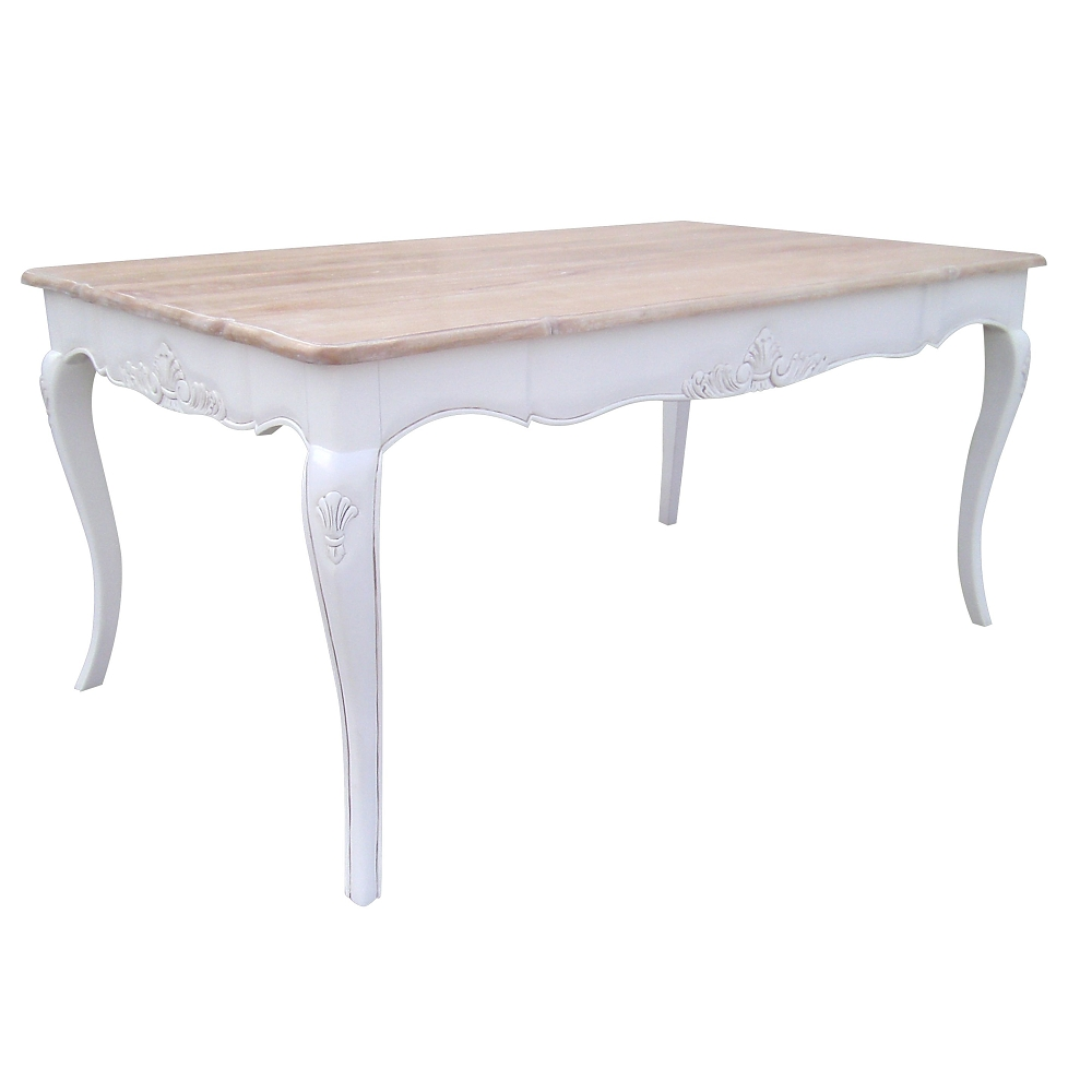 French Chateau White Dining Table with Washed Wood Top