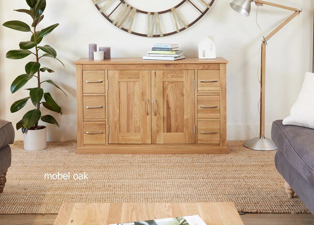 Mobel Oak Six Drawer Sideboard
