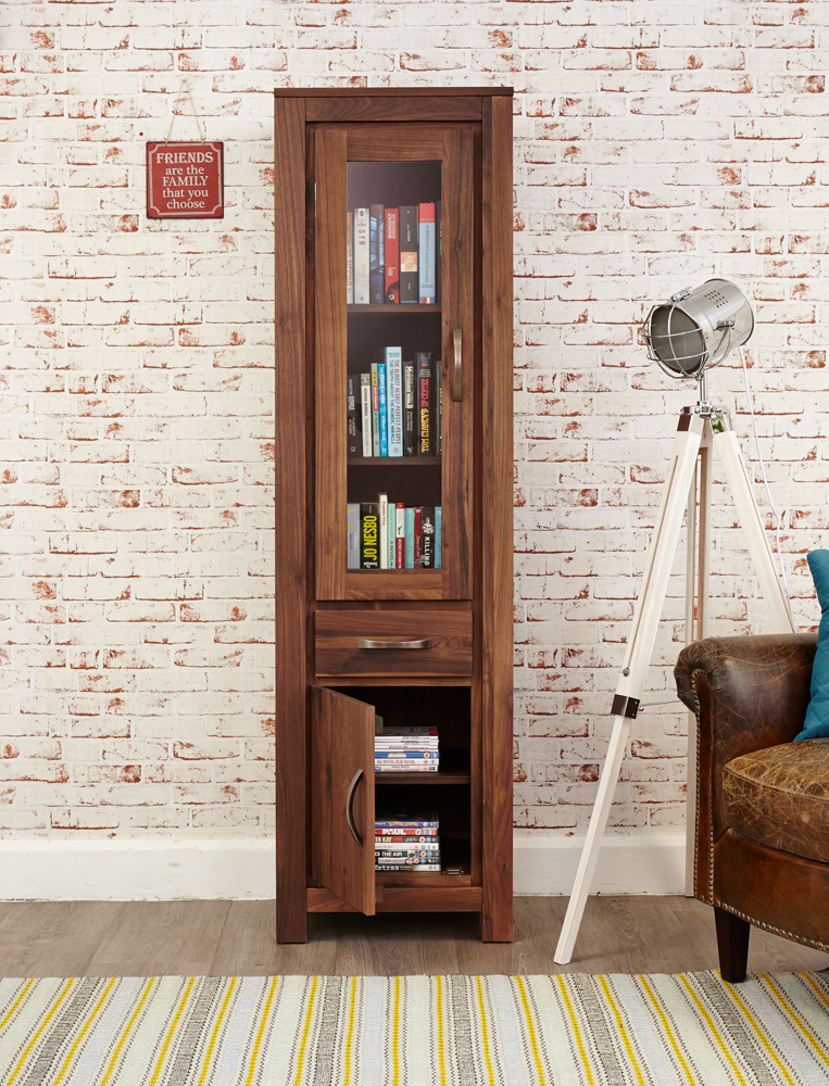 Mayan Walnut Narrow Glazed Bookcase