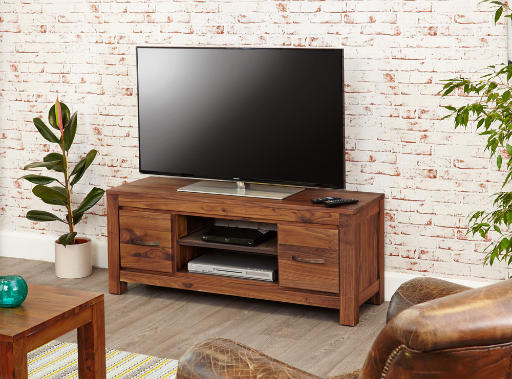 Mayan Walnut Low Widescreen Television Cabinet