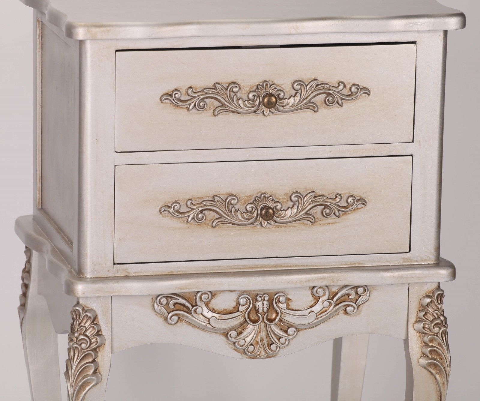 French Antique Silver 2 Drawer Bedside