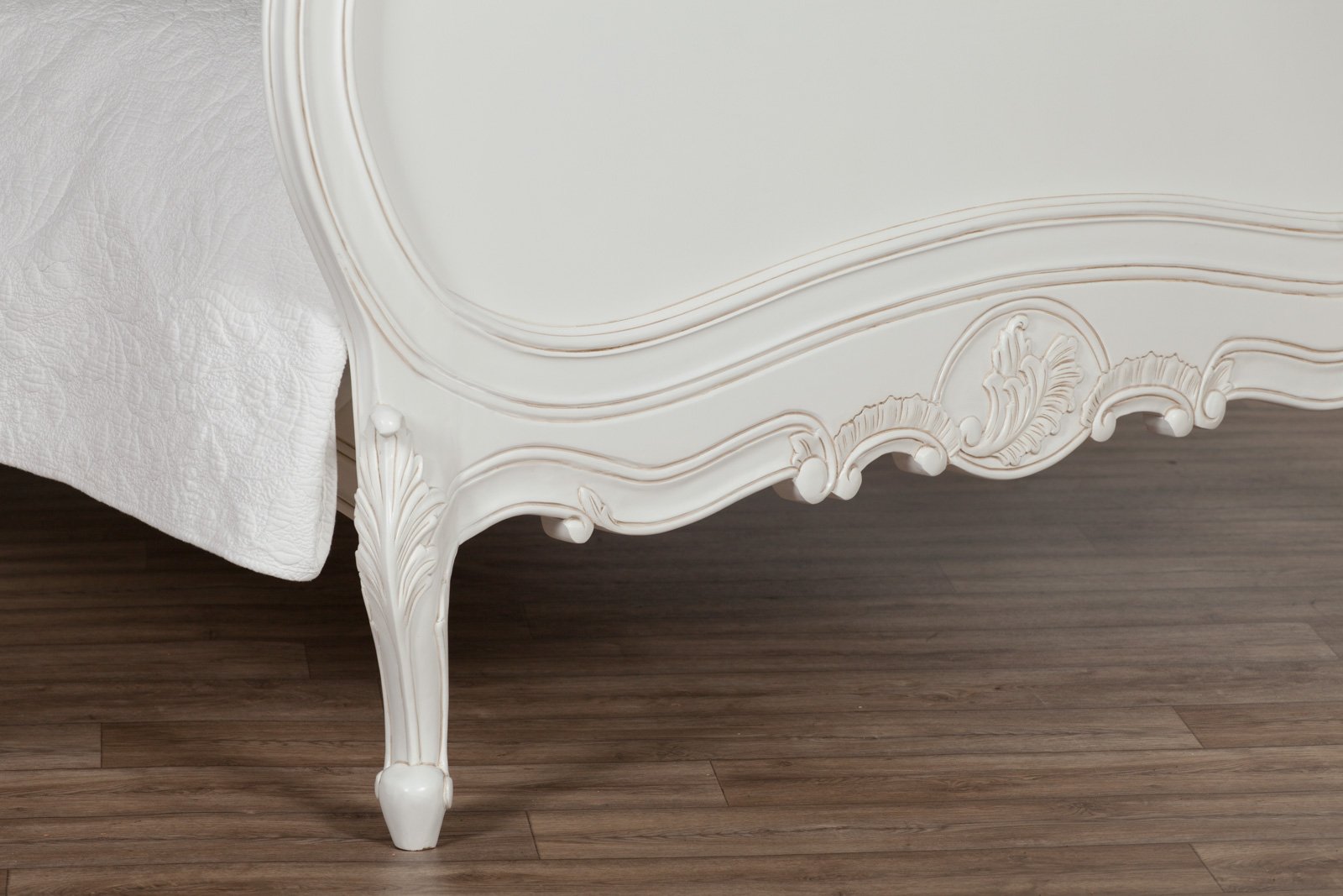 French Chateau 5ft King Size Solid Wooden Mahogany White Painted Bed