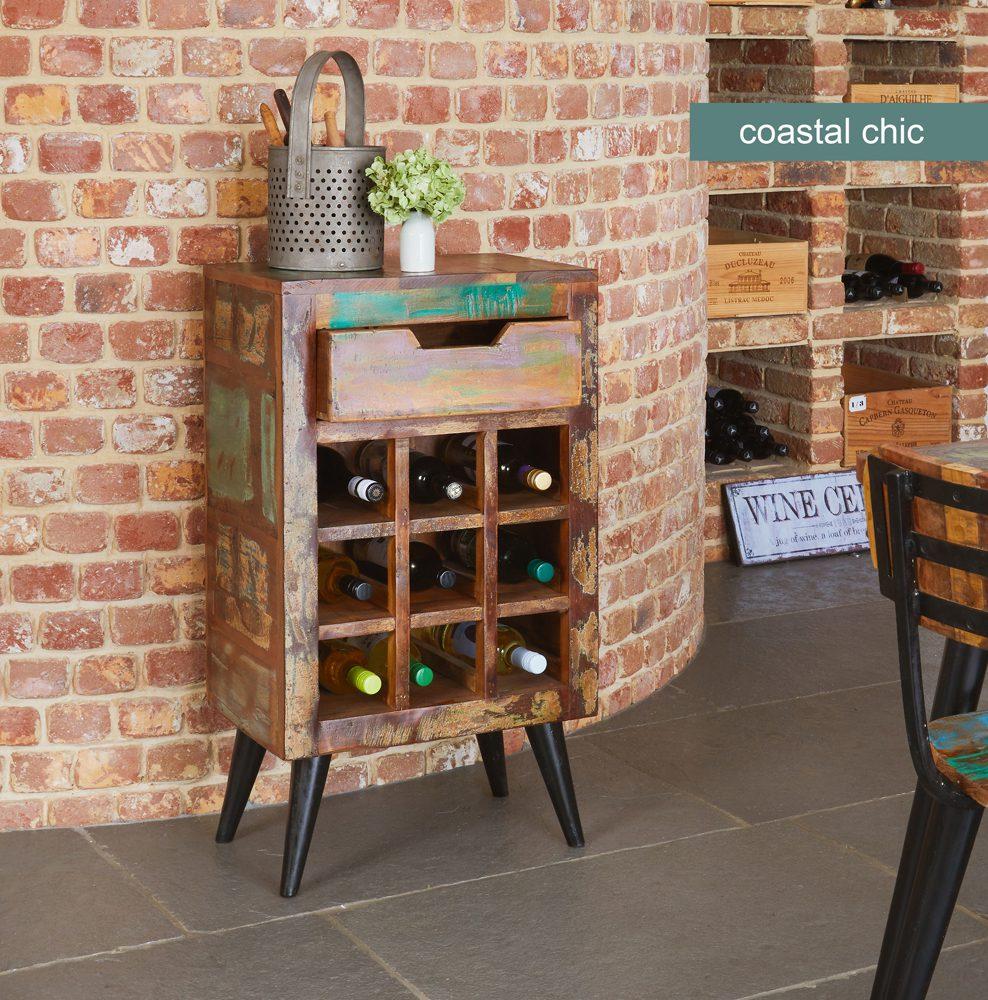 Coastal Chic Wine Rack Lamp Table