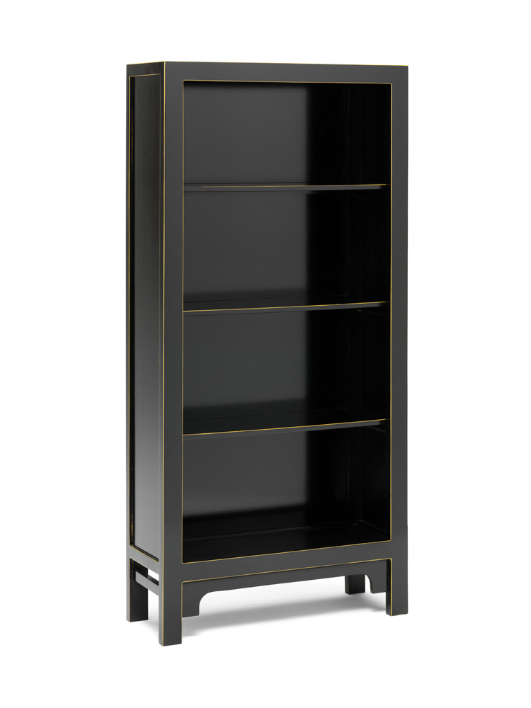 The Nine Schools Qing Black and Gilt Large Bookcase