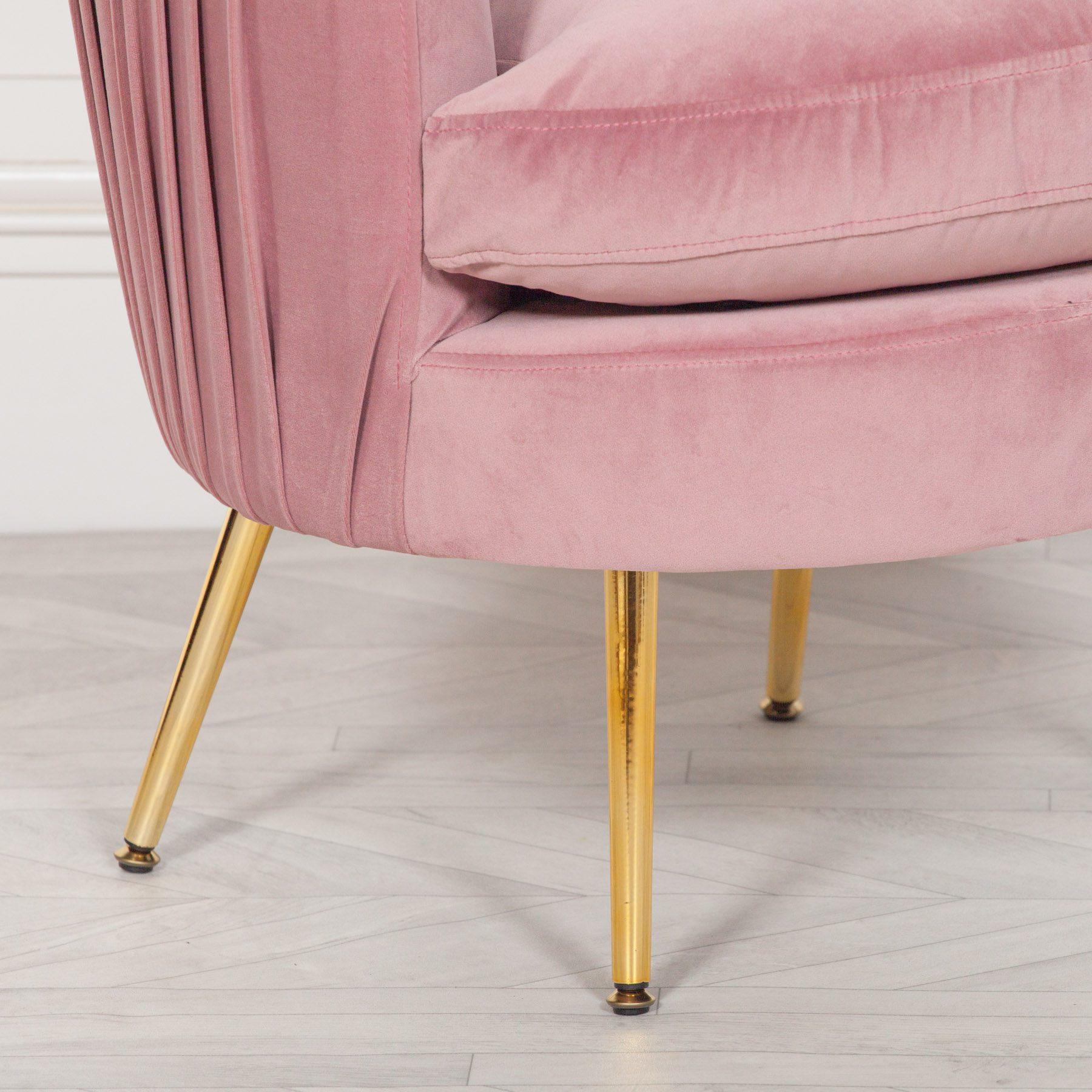 Pink Pleated Velvet Bedroom Chair