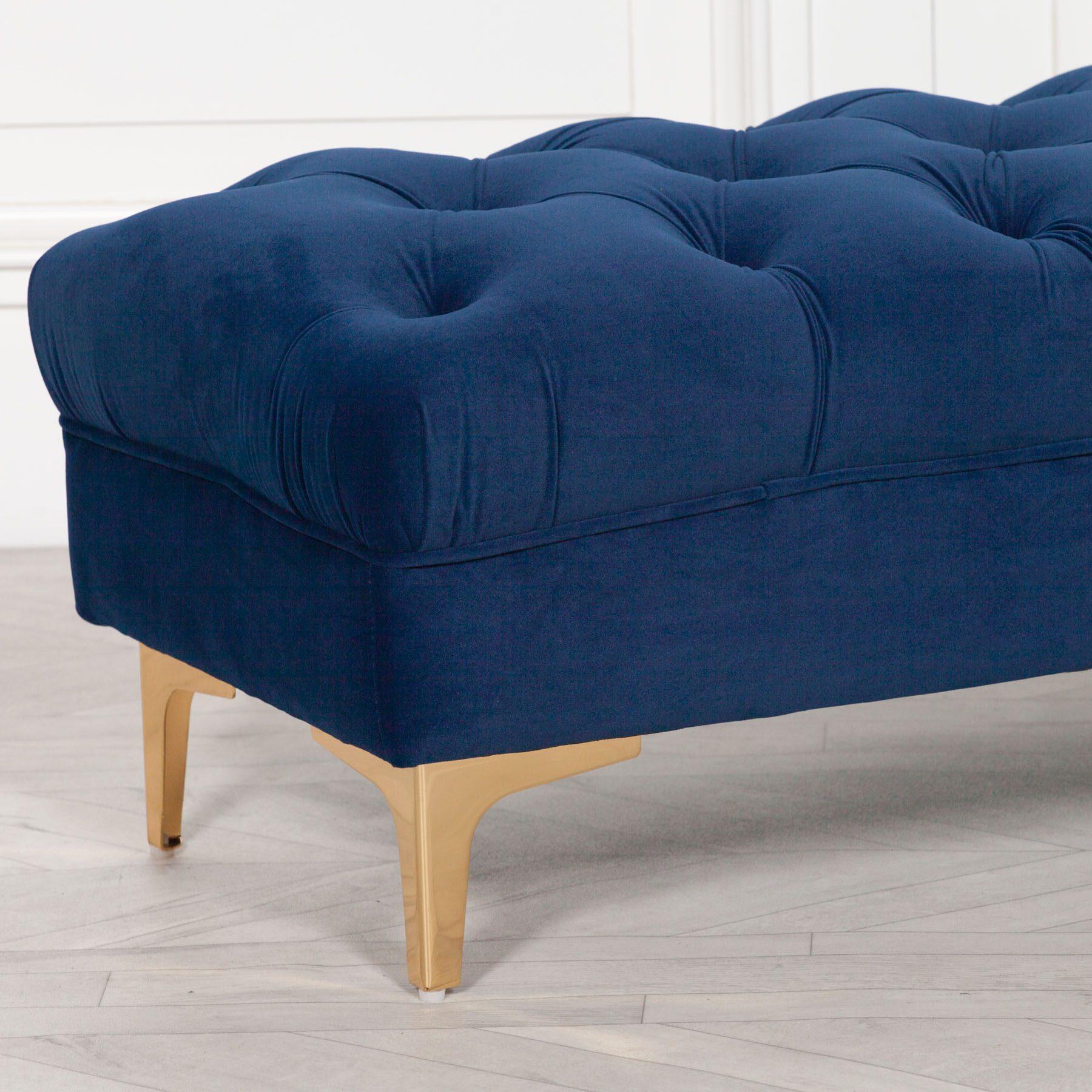 Blue Velvet Buttoned Ottoman Stool