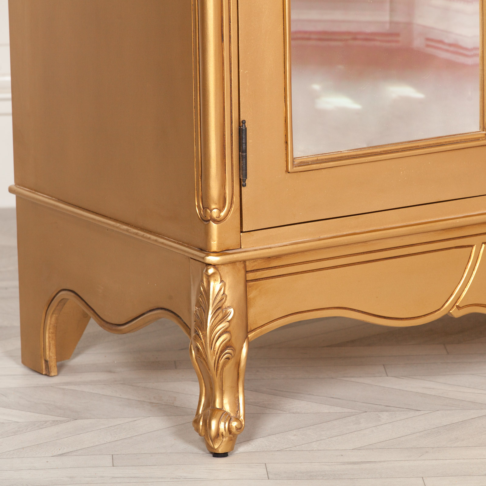 French Style Gold Carved Double Full Mirrored Armoire