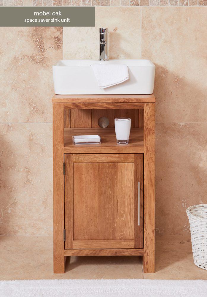 Bathroom Collection – Solid Oak Single Door Sink Unit (Square)