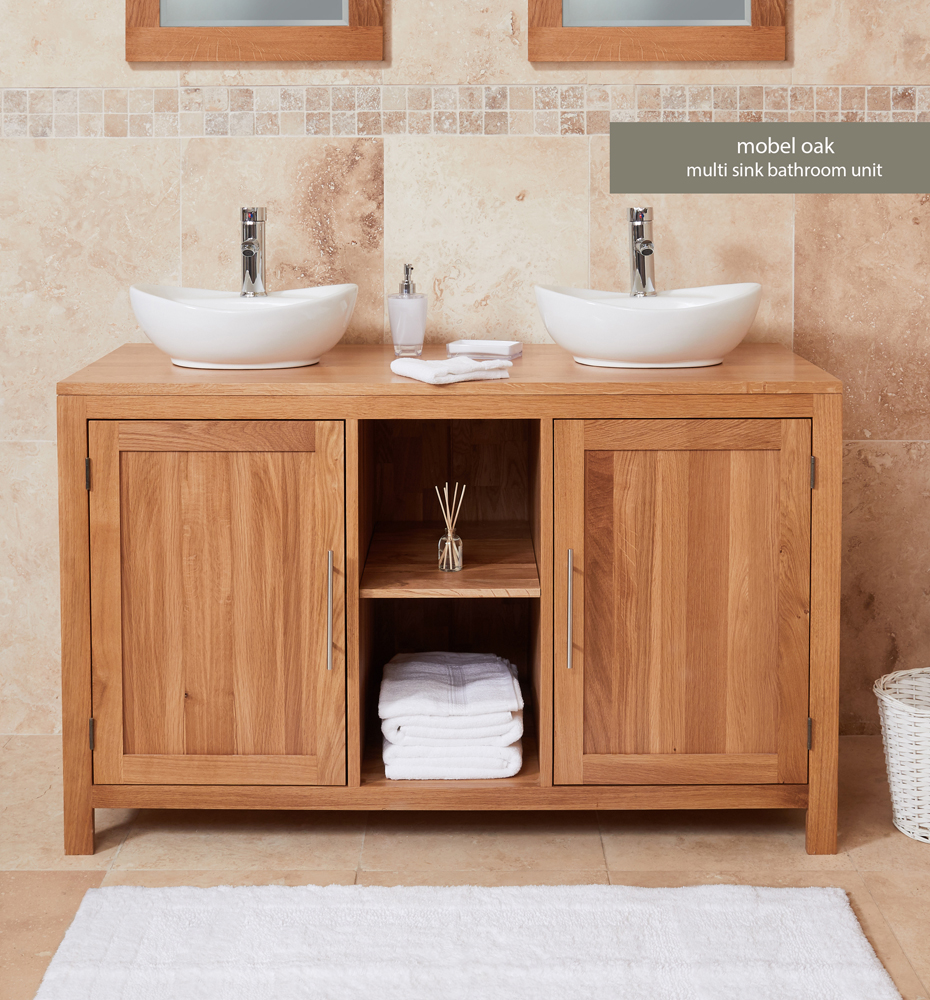 Bathroom Collection – Solid Oak Dual Sink Unit with Two Doors (Round)