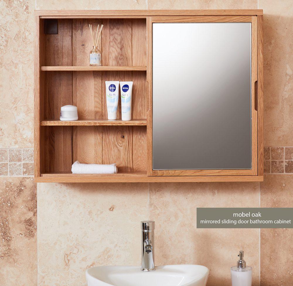 Bathroom Collection – Solid Oak Mirrored wall shelf unit