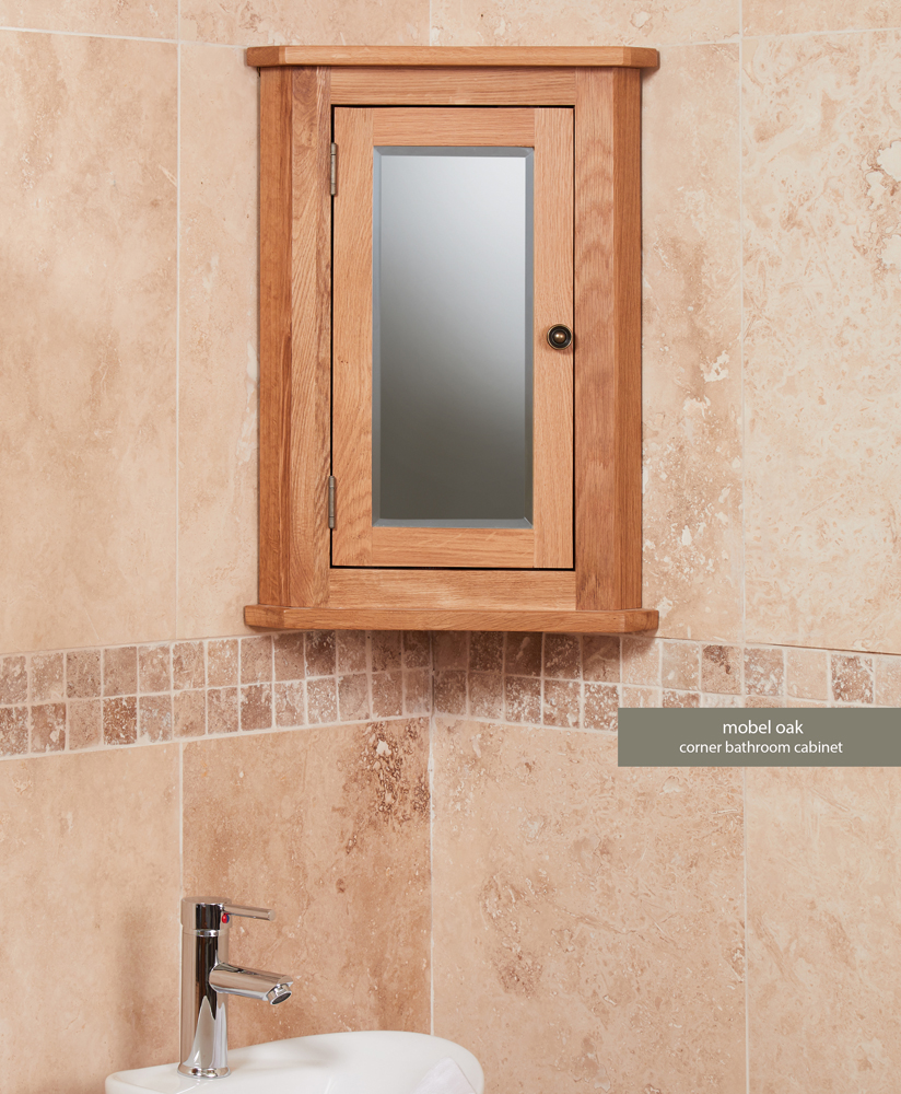 Bathroom Collection – Solid Oak Mirrored Corner Wall Cabinet