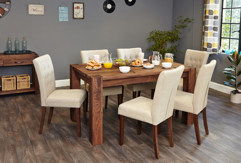 BUNDLE – Shiro CDR04B Table with 6 x CDR03D Chairs