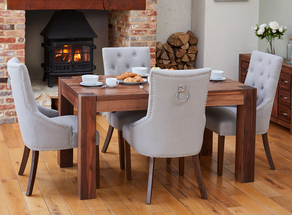 BUNDLE – Walnut CDR04B Table with 4 x CDR03K Chairs