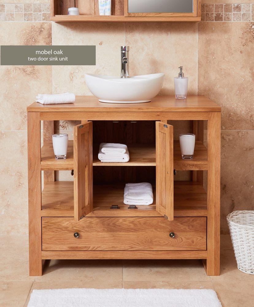 Bathroom Collection – Solid Oak Two Door Single Sink Unit (Round)