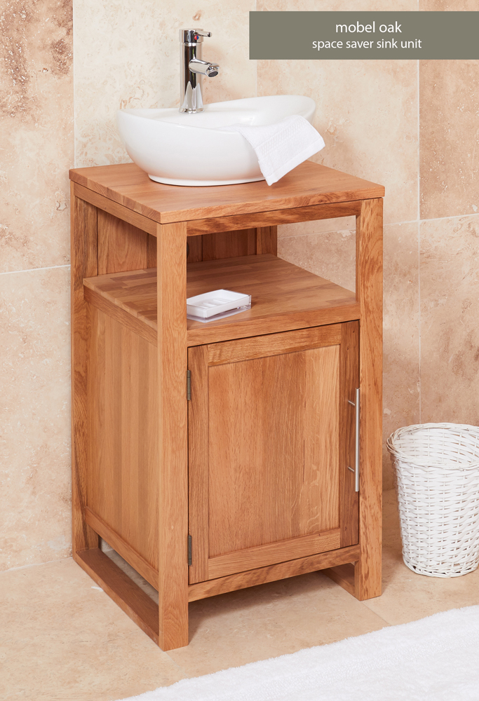 Bathroom Collection – Solid Oak Single Door Sink Unit (Round)