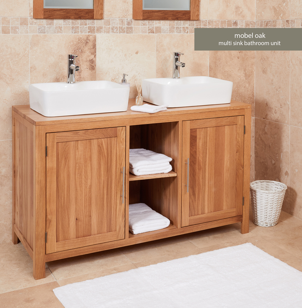 Bathroom Collection – Solid Oak Dual Sink Unit with Two Doors (Square)