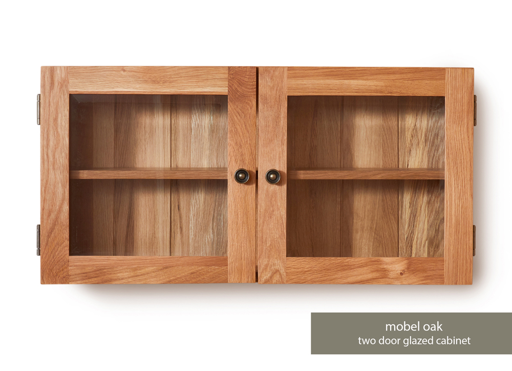 Bathroom Collection – Solid Oak Glass Double Door Cabinet