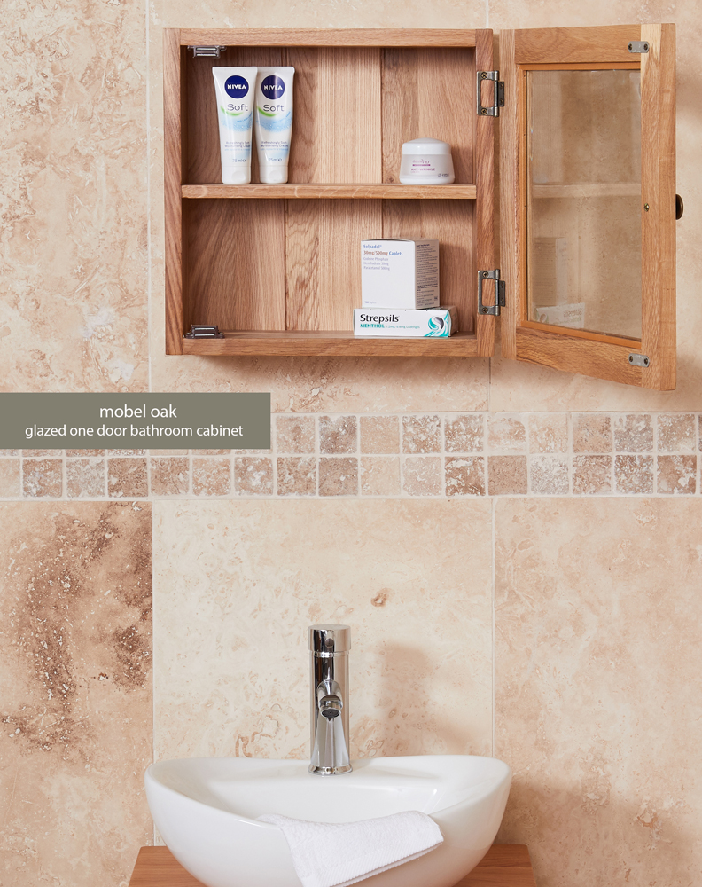 Bathroom Collection – Solid Oak Glass Single Door Cabinet