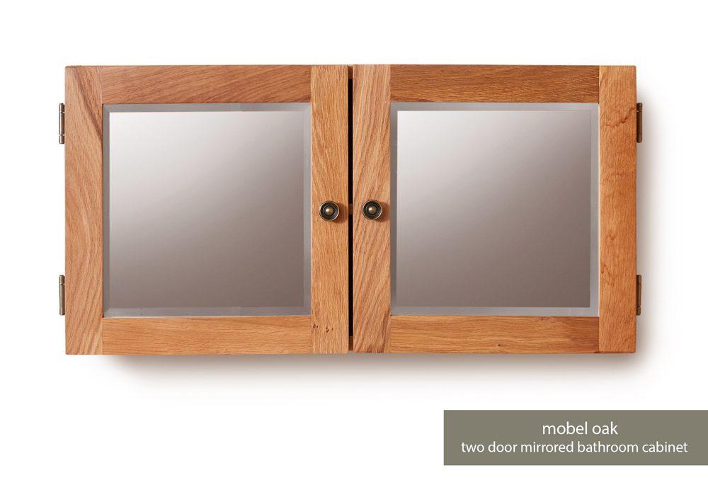 Bathroom Collection – Solid Oak Mirrored Double Door Cabinet
