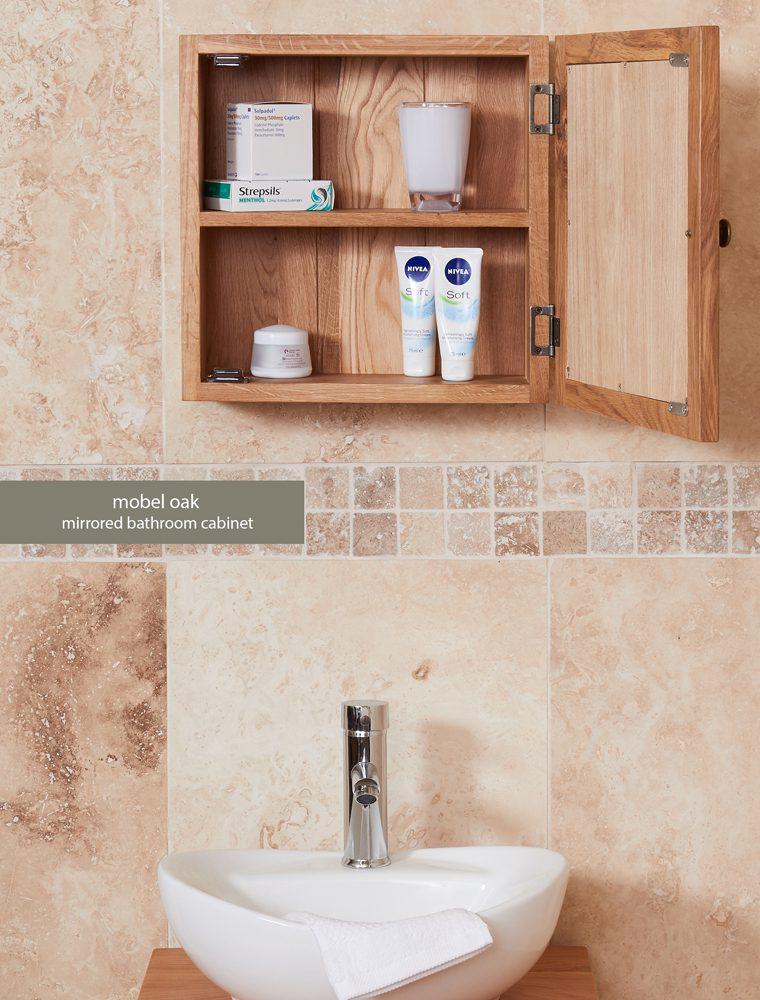 Bathroom Collection – Solid Oak Mirrored Single Door Cabinet