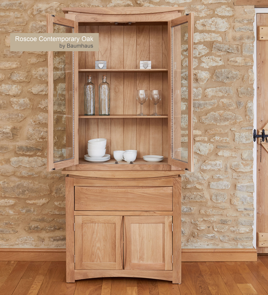 (CRESSMSBT) Roscoe Contemporary Oak Glazed Display TOP with Oak Sideboard