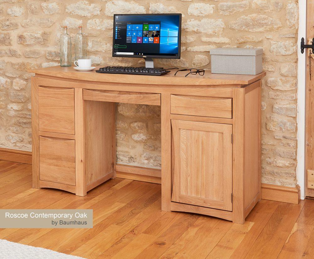 (CRESCDL) Roscoe Contemporary Oak Home Office Desk