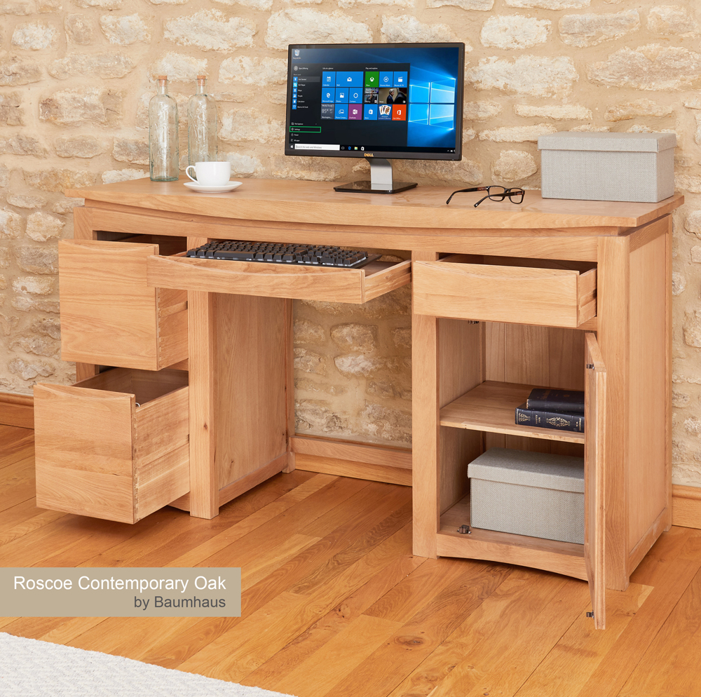 (CRESCDL) Roscoe Contemporary Oak Home Office Desk