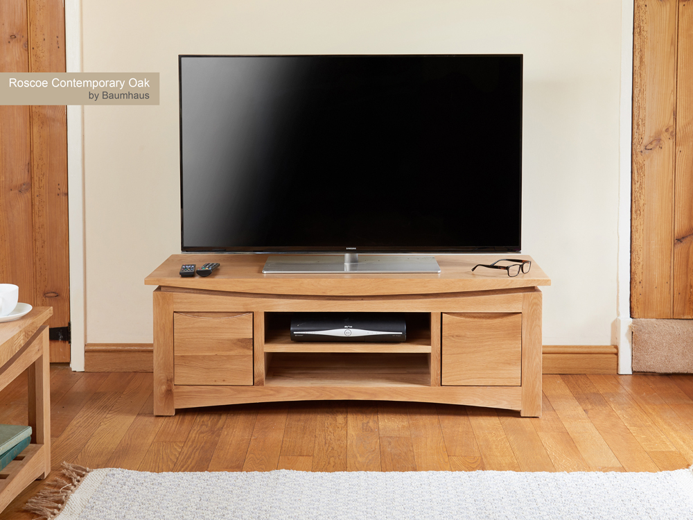 Roscoe Contemporary Oak Widescreen Television Cabinet