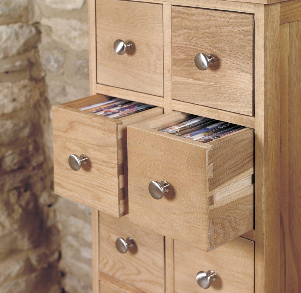 Mobel Oak Multi-Drawer DVD / CD Storage Chest