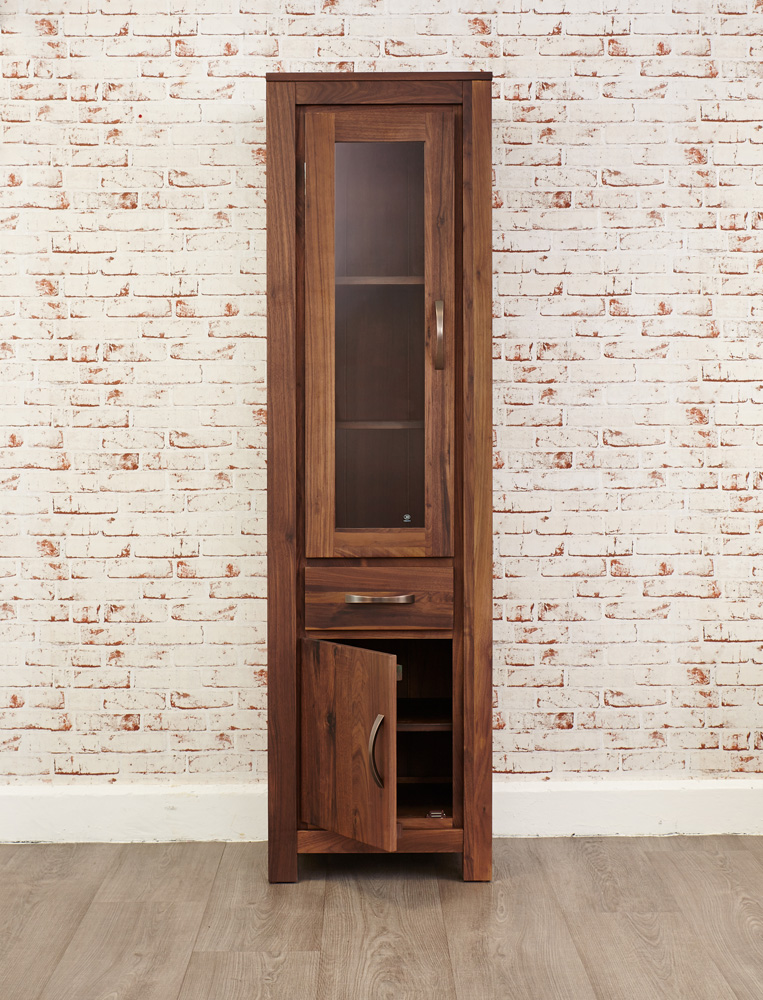 Mayan Walnut Narrow Glazed Bookcase