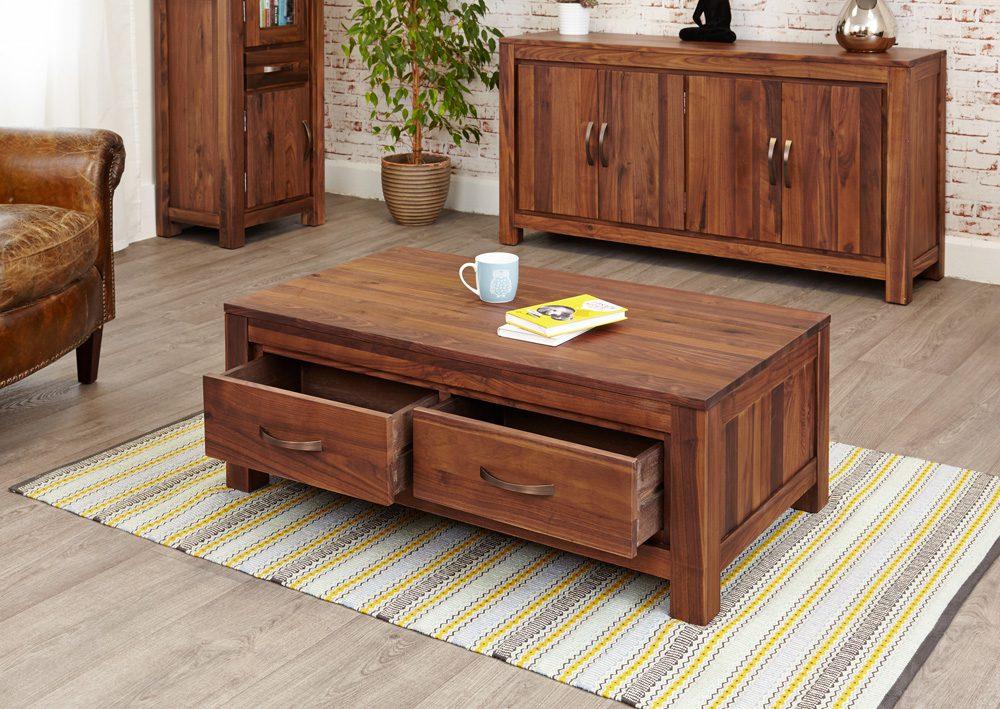 Mayan Walnut Low Four Drawer Coffee Table
